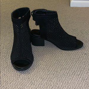 open toed black booties